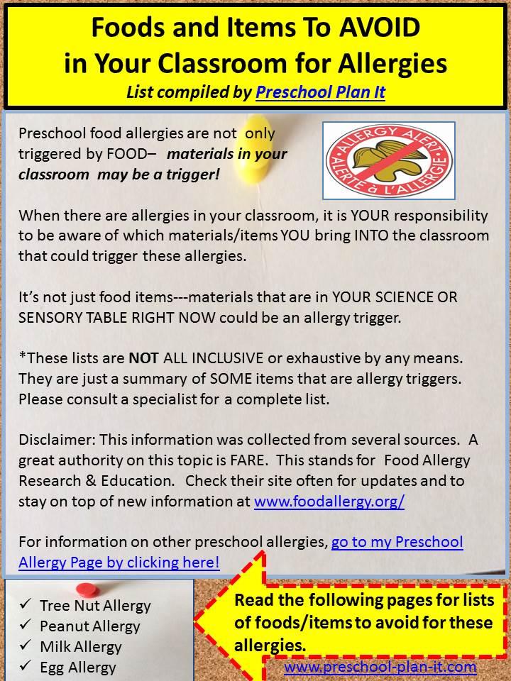 Preschool Allergies in the Classroom