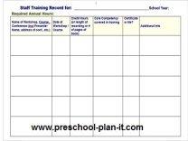 Preschool Staff Workshop Log for Staff Evaluation