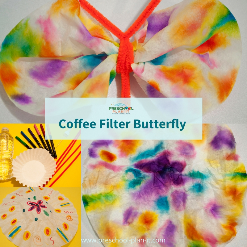 Coffee Filter Butterfly activity for preschool