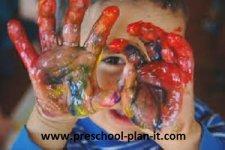 Fingerpainting in Preschool