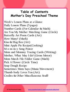 Mother's Day Preschool Theme Table of Contents