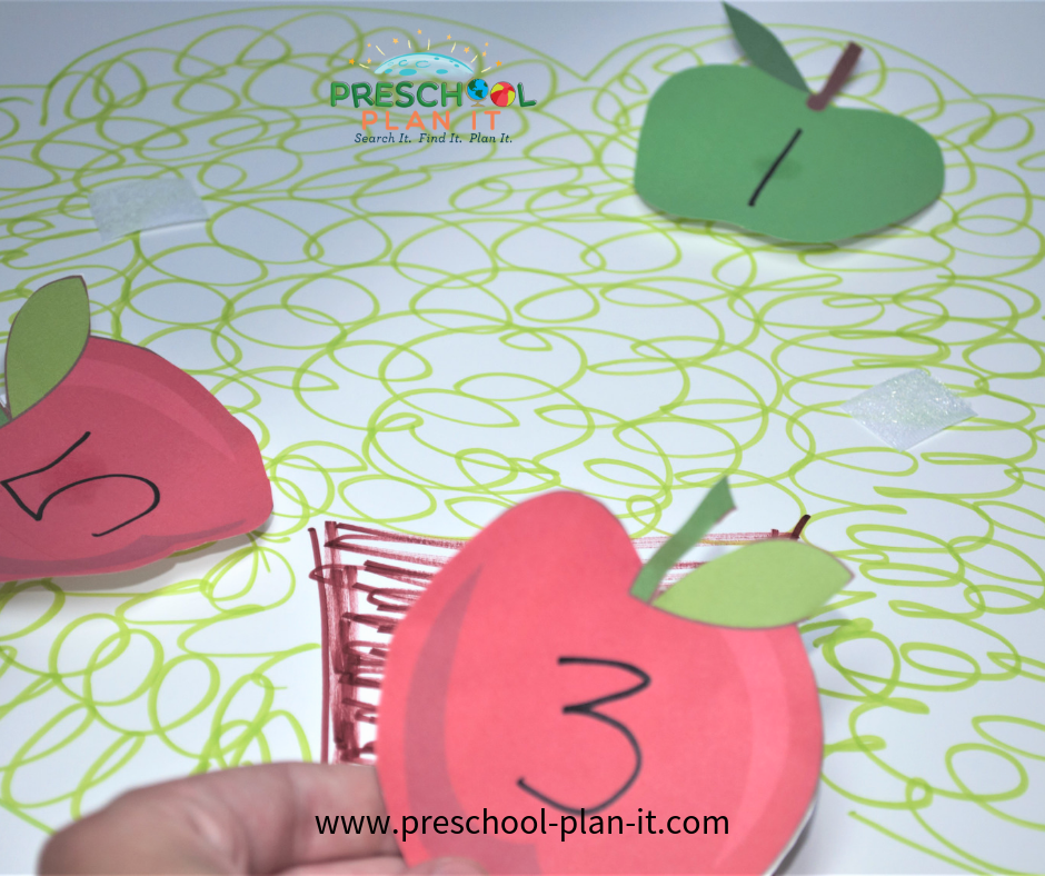 Apple Preschool Theme Number Recognition Activity