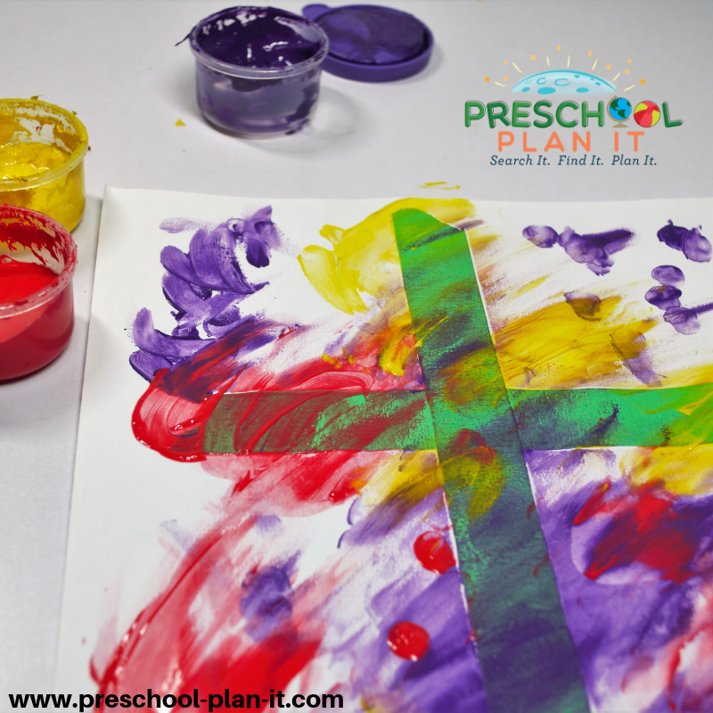 Easel Tape Crosses for a Christian Easter Activities Preschool Theme