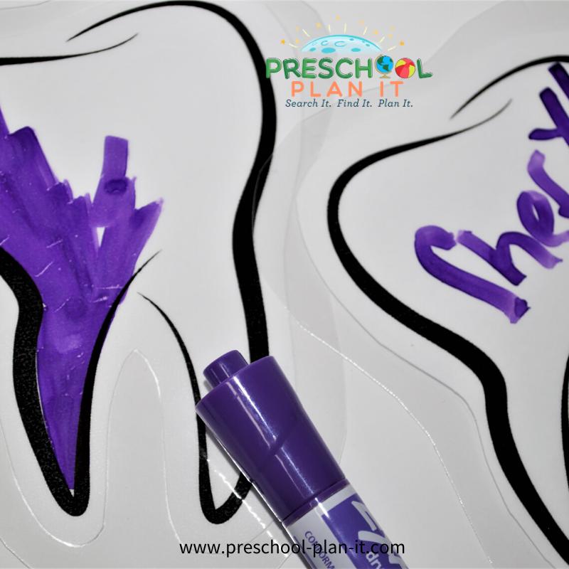 Dental Health Preschool Theme Writing Activity