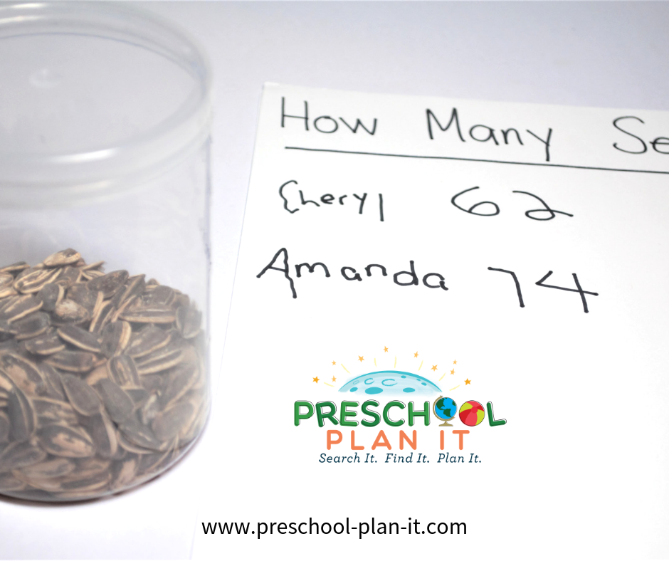 Seed Guessing Preschool Math Activity for a Farm Theme