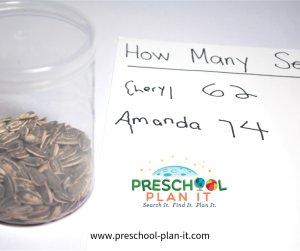Seed Guessing Preschool Math Activity for a Farm Theme