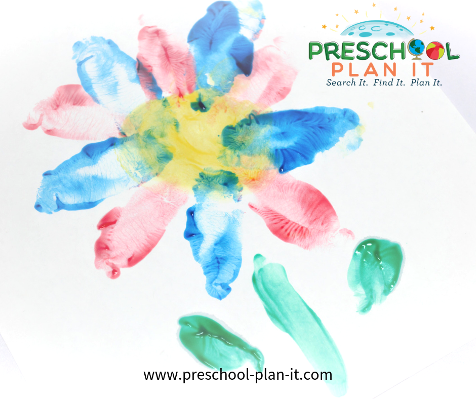 Fingerpainted flowers from a Growing Flowers Preschool Theme