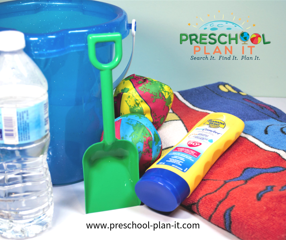 Dramatic Play Beach Scene for Preschool Summer Theme