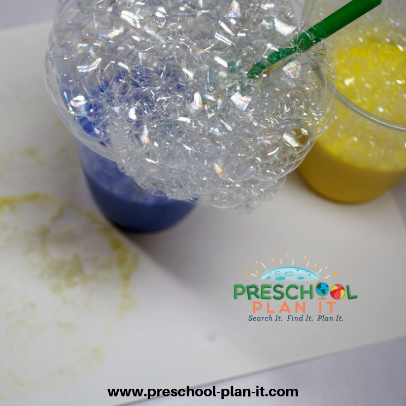 Bubble Rainbow Painting for St Patrick's Day Activities Preschool Theme