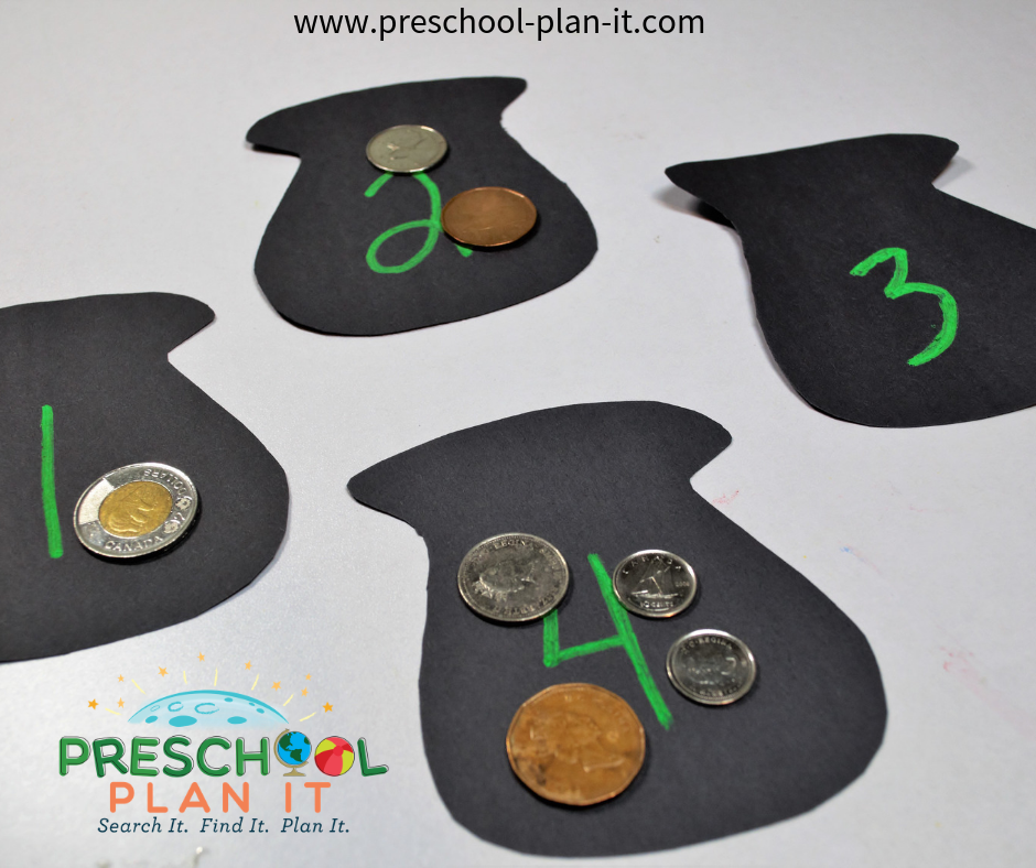 Coin Sorting Math Game for St Patrick's Day Activities Preschool Theme