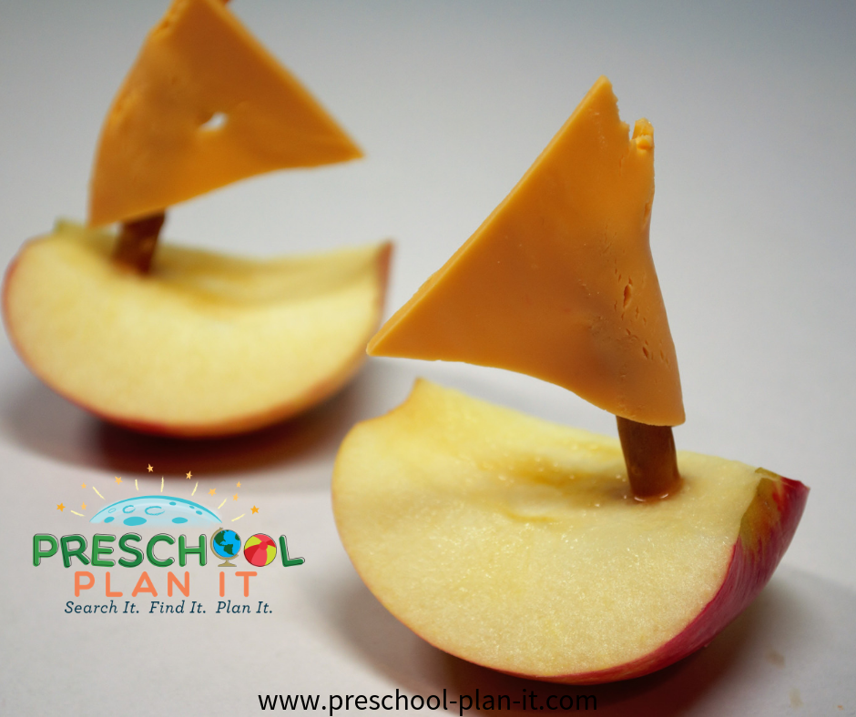 Apple Boat Snack for a Preschool Transportation Theme