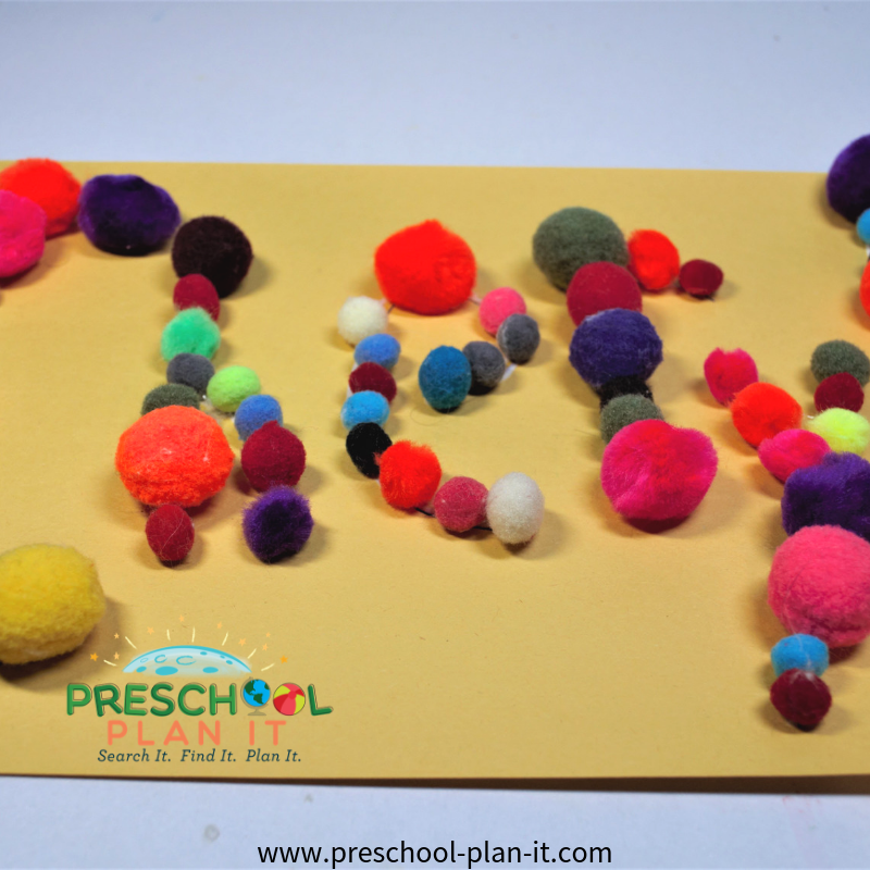 Pom Pom Names Activity for Balls Preschool Theme