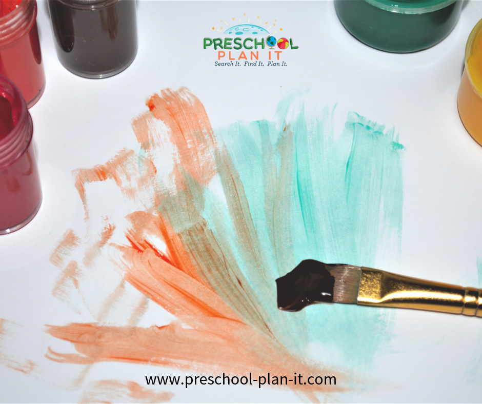 Fall Preschool Theme Painting with Fall Colors