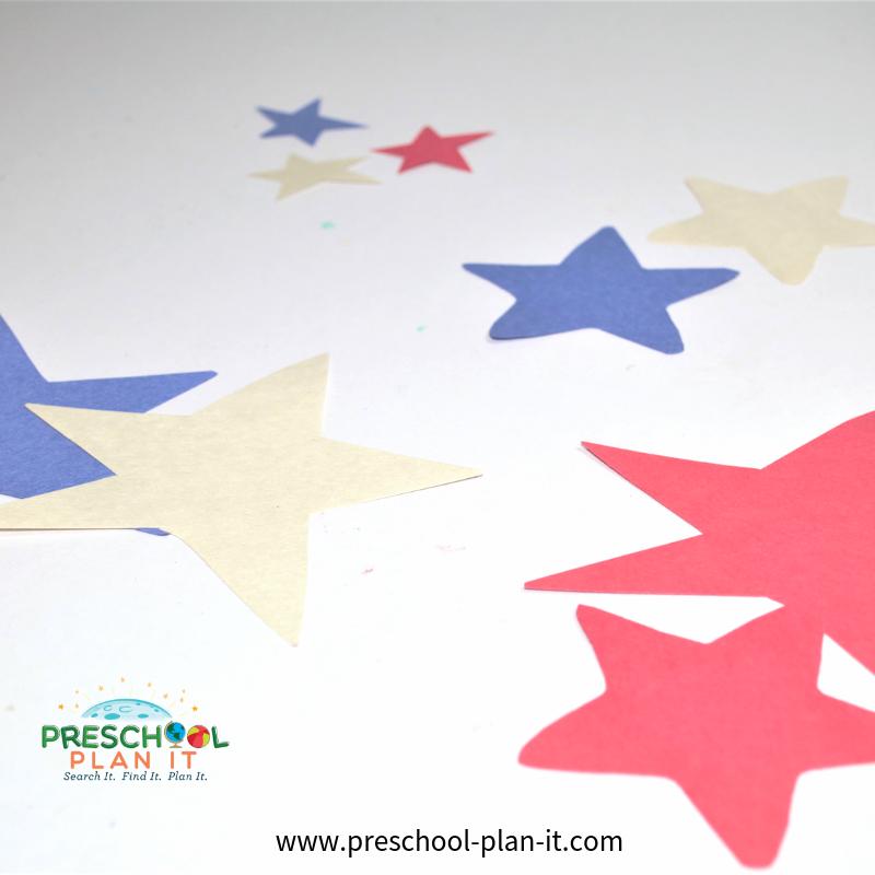 4th of July Preschool Theme Star Sorting Activity