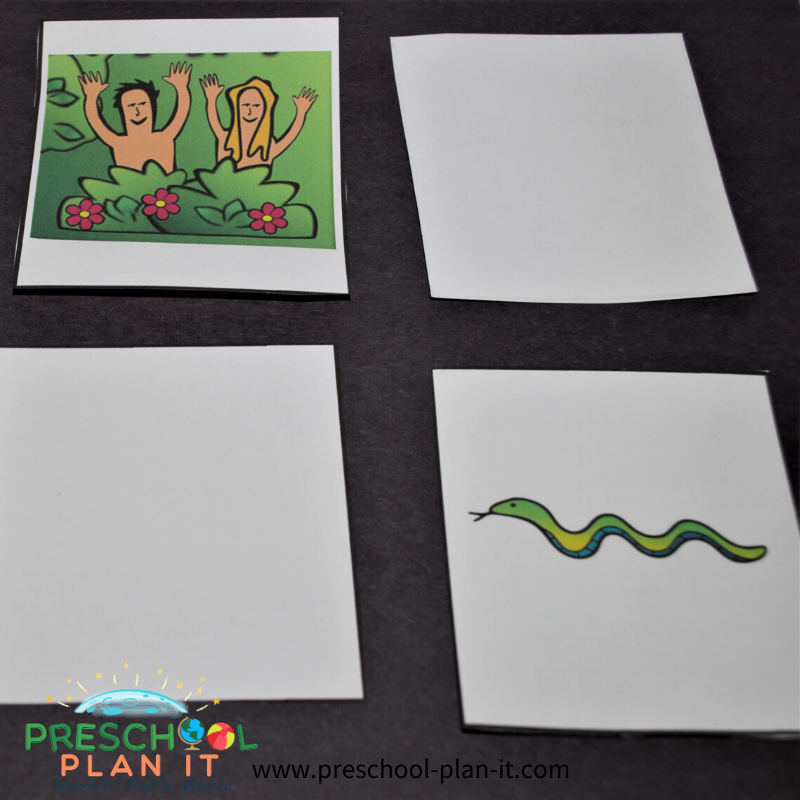 Adam and Eve Preschool Theme Matching Game