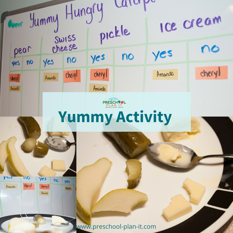 Snack and taste testing idea for a Caterpillar and Butterfly preschool theme