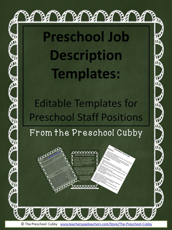 Preschool Job Description Resource Templates