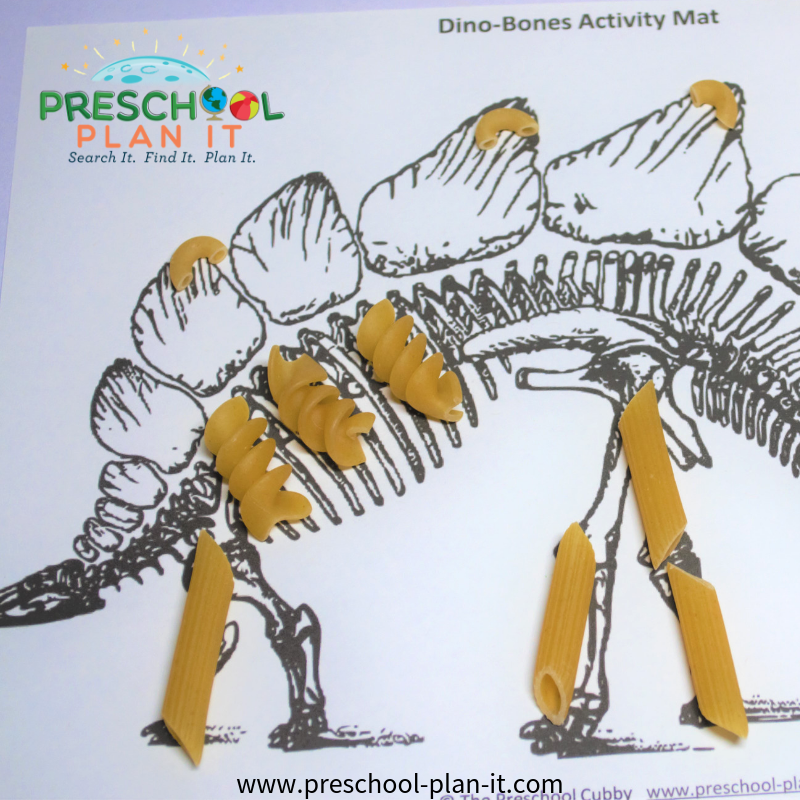Macaroni Skeletons for a Dinosaur Preschool Theme