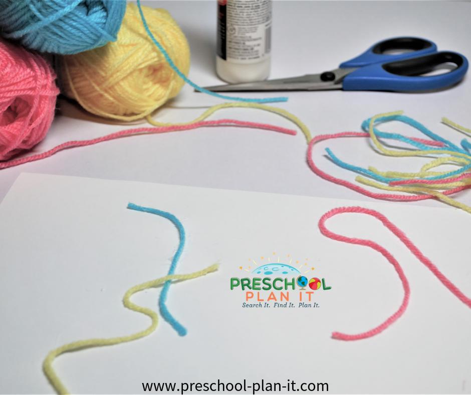 Yarn Collage for  Preschool Farm Theme