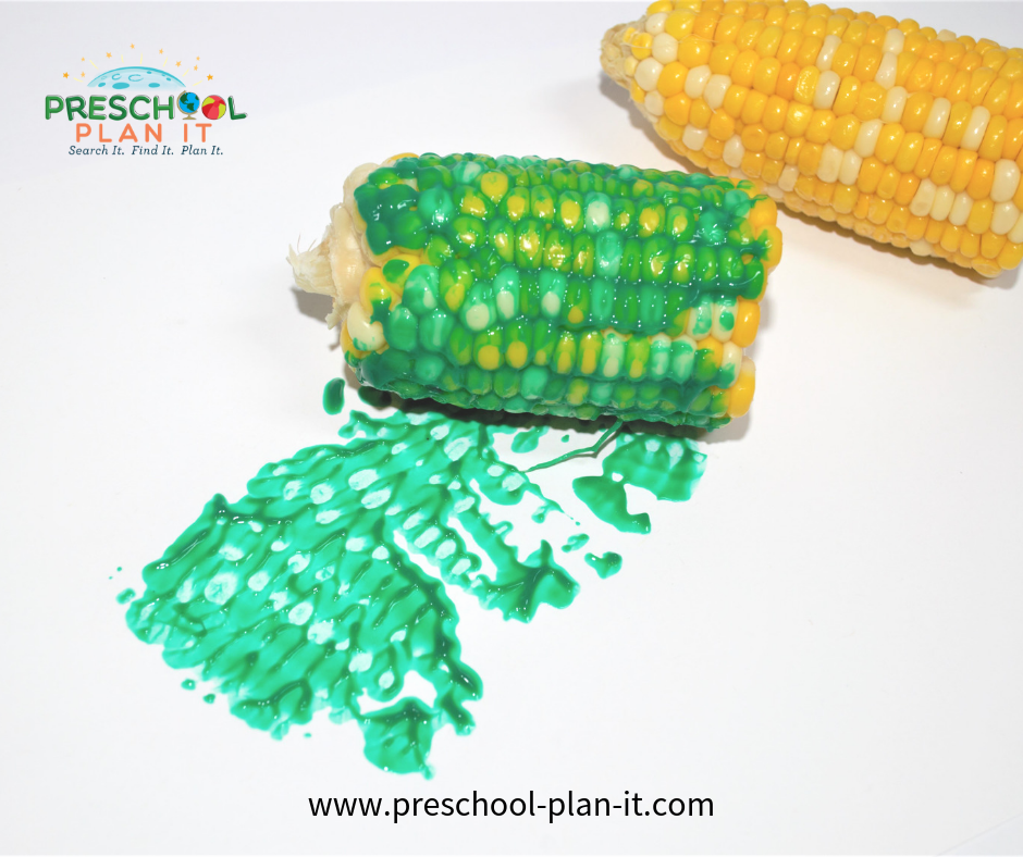 Fruits and Vegetables Preschool Theme Art Activity with Corn