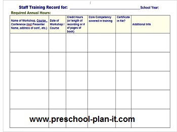 Preschool Staff Workshop Log for Staff Evaluation