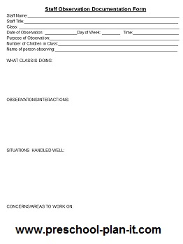 Preschool Staff Observation Form