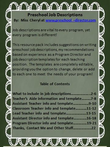 job description for a preschool teacher preschool description resource templates 253