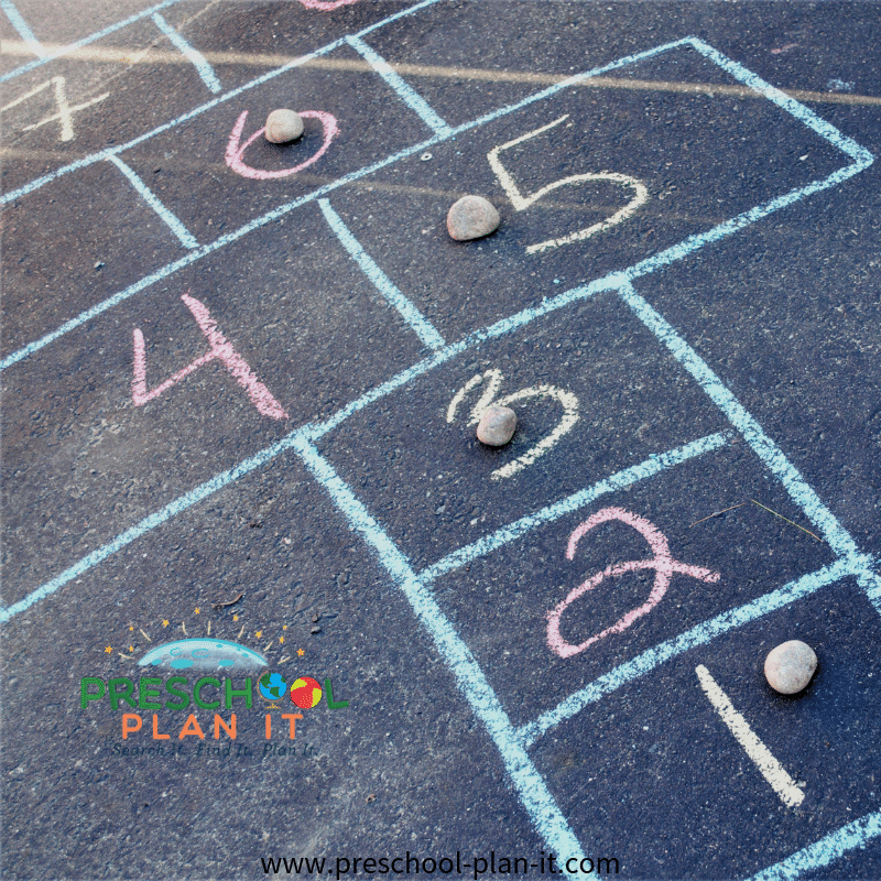 Rocks Theme for Preschool Hopscotch Idea
