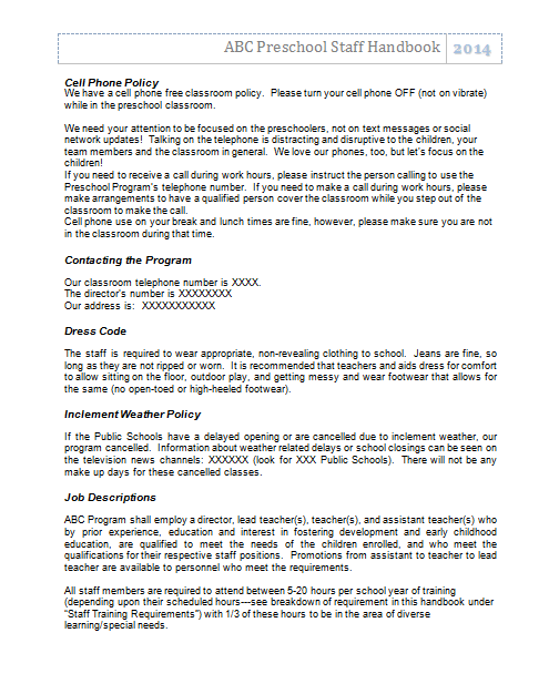 staff handbook for preschool