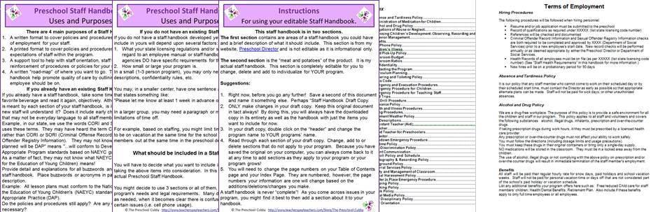 staff handbook for preschool teachers staff handbook for preschool 673