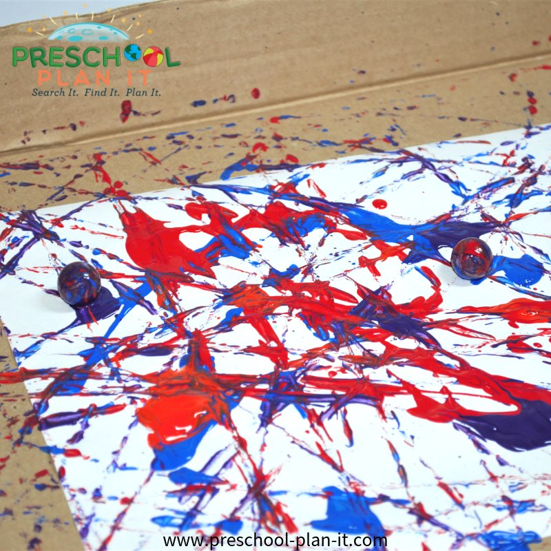 Marble Painting from a 4th of July Preschool Theme