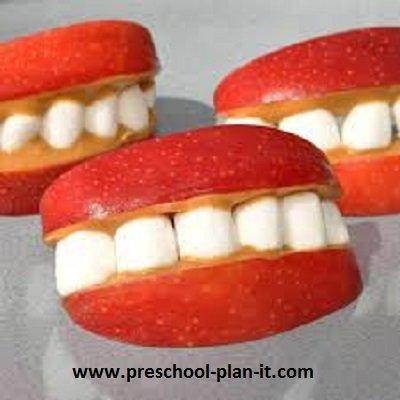 Apple Smiles Preschool Snack Dental Health Theme or Friendship Theme