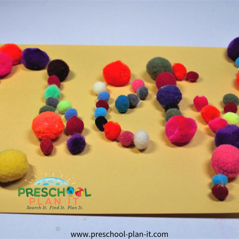 Pom Pom Names Activity for Balls Preschool Theme