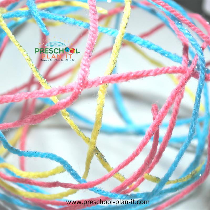 Yarn Balls Activity for Balls Preschool Theme