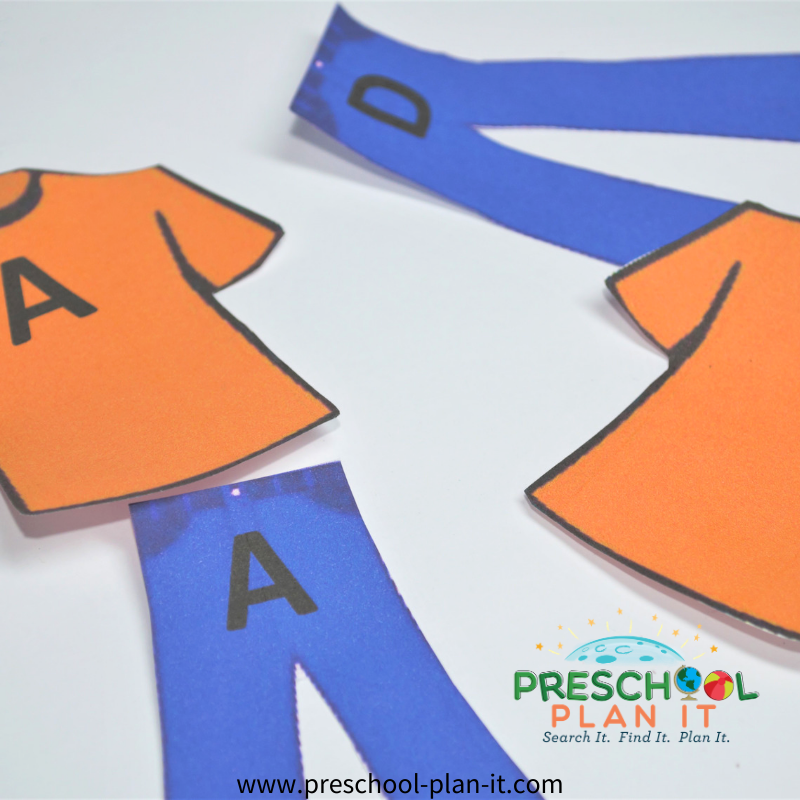 Clothes Preschool Theme Letter Matching Activity