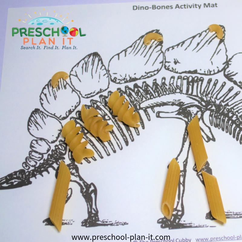 Macaroni Skeletons for a Dinosaur Preschool Theme