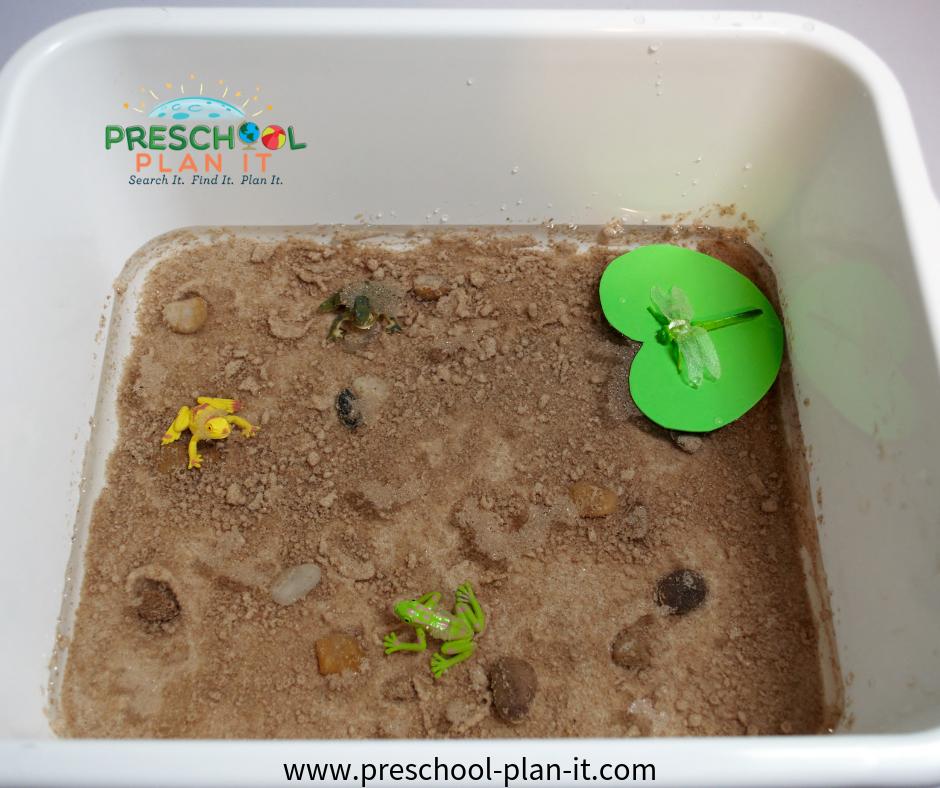 Pond Life Sensory Table for a Preschool Earth Day Activities Theme