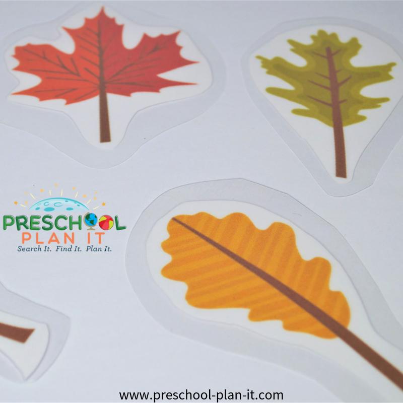 Fall Leaves Preschool Theme Matching Game