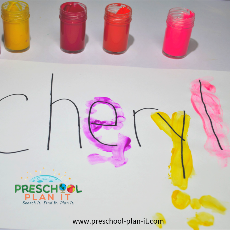 Pie Preschool Theme Lettering Activity
