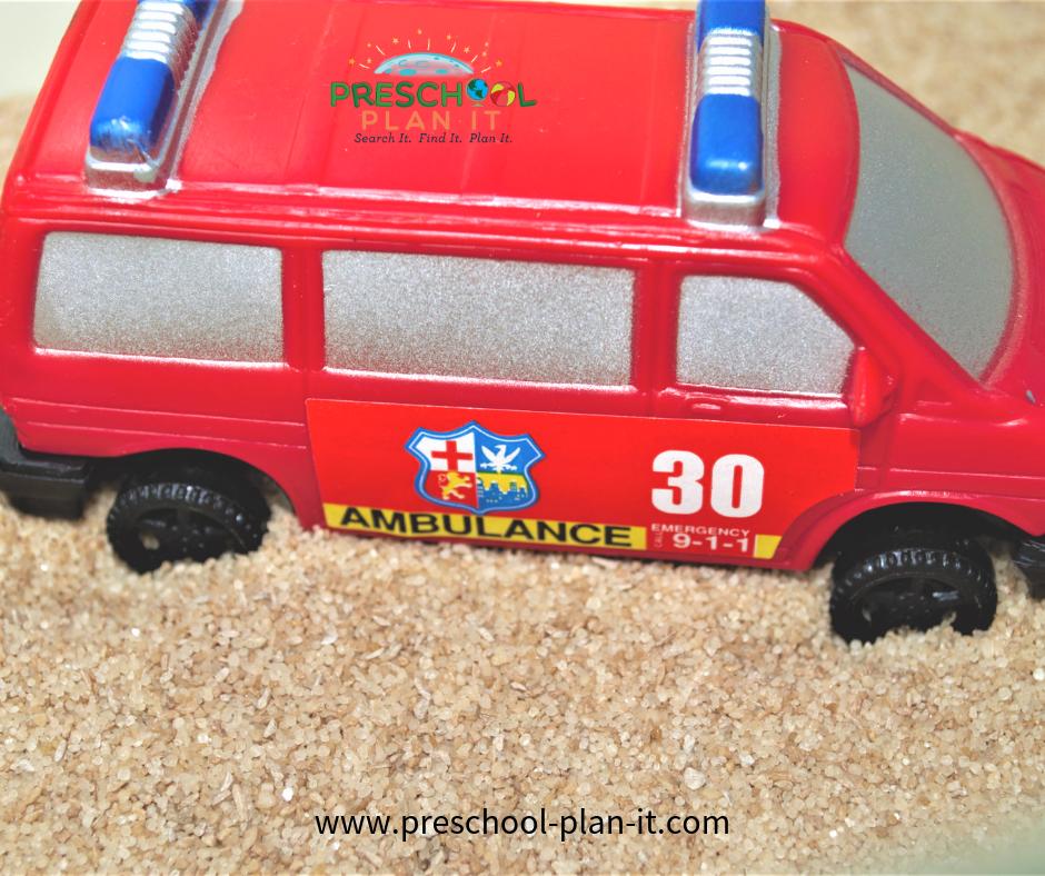 Police Preschool Theme Sand Table Activity