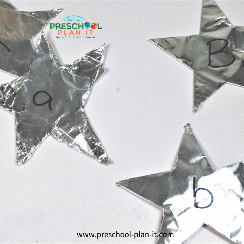 Star Letter Matching Activity for Preschool Space Theme