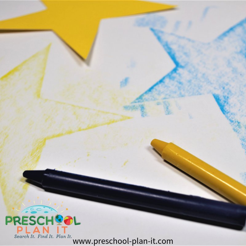 Star Rubbing Matching Activity for Preschool Space Theme