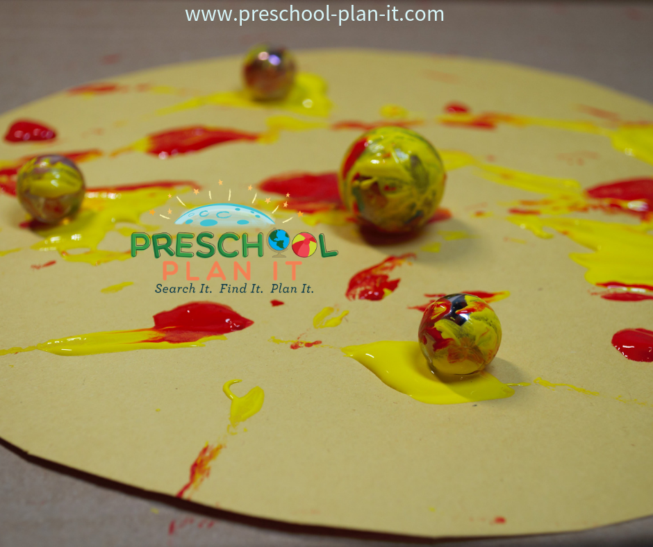 Sun Marble Painting for Spring Activities Preschool Theme