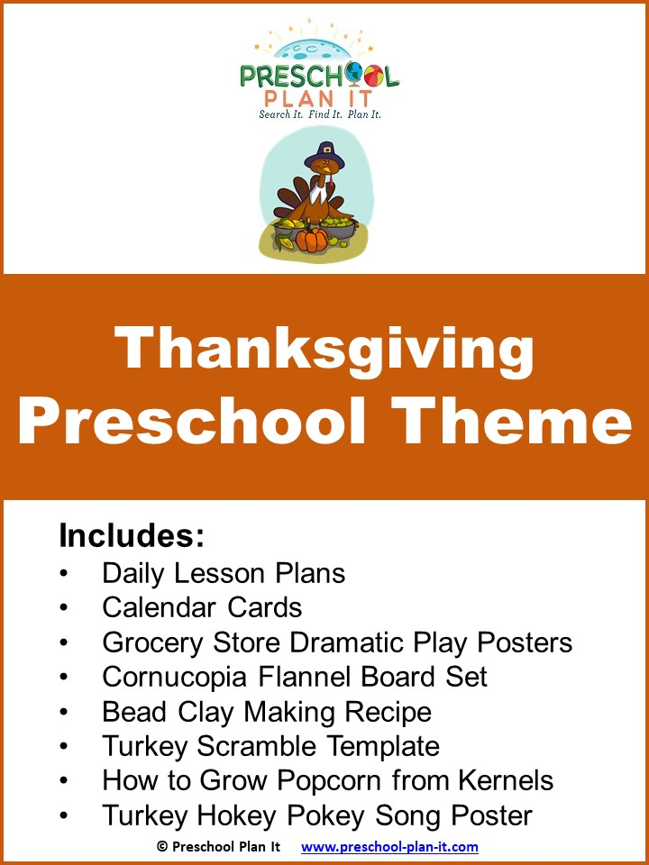 A 34 page Preschool Thanksgiving Theme--this is a week-long theme packet to help save you planning time!